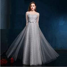 e88cd1ac1af05 Buy Luxury Style Elbow-Sleeve Lace Embroidered Evening Gown at  YesStyle.com! Quality