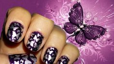 Spring purple nails with silver butterflies