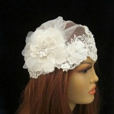 Juliet Cap Veil Bridal Vintage Inspired Scallopped by gebridal