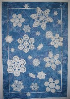 Some of the snow dyed fabric I've made is subtle in pattern, and works well as a background for applique. The background of this quilt is s. Crazy Patchwork, Patchwork Quilting, Applique Quilts, Quilting Projects, Quilting Designs, Snowflake Quilt, Snowflakes, Doily Art, Doilies Crafts