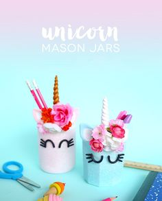 Cutest pencil holders ever! These unicorns would also be pretty planters. Click through for the tutorial.
