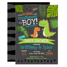 Dinosaur Baby Shower Invitation T-Rex Baby Shower - baby gifts child new born gift idea diy cyo special unique design Baby Shower Niño, Baby Shower Themes, Baby Shower Decorations, Baby Shower Gifts, Shower Ideas, Diaper Shower, Girl Shower, Bridal Shower, Table Decorations