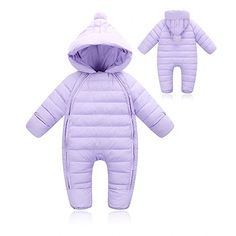1aef5a049 MNLYBABY Unisex Baby Hooded Puffer Jacket Jumpsuit Winter Warm ...