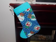 Holiday Christmas Stocking Santa  Handmade by by sewinggranny, $9.50 Use Coupon Code HandmadeMonday for 20% off.