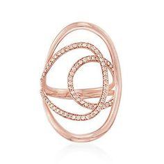 Ross-Simons - .48 ct. t.w. Diamond Open Curve Ring in 18kt Rose Gold - #837839