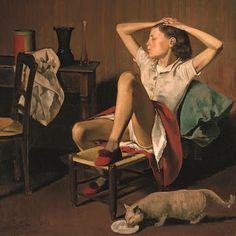 """""""Thérèse Dreaming,"""" by the French painter known as Balthus, will remain in the museum's offerings. Met Defends Suggestive Painting of Girl After Petition Calls for Its Removal Mother Painting, Painting Of Girl, Modern Artists, French Artists, Male Artists, Metropolitan Museum, David Hockney, Poster Prints, Art Prints"""