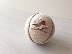 Christmas Ornament, Decoration christmas tree ball natural linen covered with cross stitch bird Robin