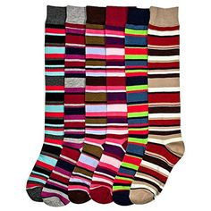 Womens Mamia Fancy Design Multi Color Knee High Socks 6 Pairs *** You can find more details by visiting the image link.