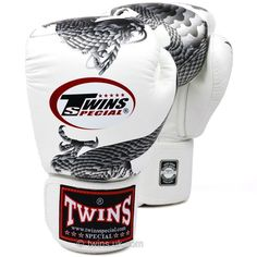 FBGV-23 Twins White-Silver Dragon Boxing Gloves