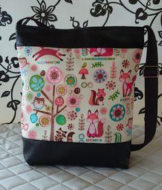 Róka mintás   textilbőr táska, Táska, Tarisznya, Válltáska, oldaltáska, Meska