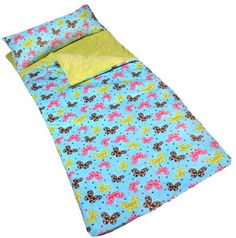 Butterfly Apple Slumber Bag by Cricketzzz. Cute Butterfly print on outside with Apple Green minky fabric inside. Opens flat like a comforter. Super thick and comfy.