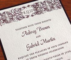 classic letterpress wedding invitation embossed