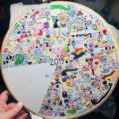 One year thread diary of slow stitching, 2019 Embroidery Floss Projects, Embroidery Hoop Art, Hand Embroidery Patterns, Cross Stitch Embroidery, Abstract Embroidery, Yarn Crafts, Sewing Crafts, Learning To Embroider, Stitch Witchery