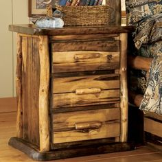 How neat is this! A 3 Drawer Nightstand. Would love to have a counrty home in the mountains with this kind of decor