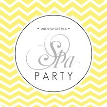 Yellow Chevron Spa Party Invitation. Love! Could make it green for Arbonne!