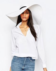 Image 1 ofFrench Connection Wide Brim Floppy Straw Hat