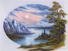 bob ross - water, mountains and trees - web source - MReno