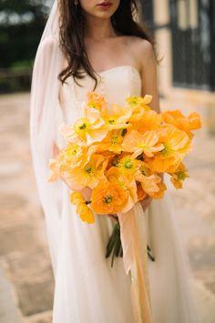 Monochromatic Wedding Bouquet by White Magnolia Designs - Be a Stunning Bride: 20 Most Beautiful Wedding Bouquet Ideas - EverAfterGuide Poppy Wedding Bouquets, Poppy Bouquet, Diy Wedding Flowers, Bride Bouquets, Flower Bouquets, Single Flower Bouquet, Yellow Bouquets, Wedding Colours, Diy Bouquet