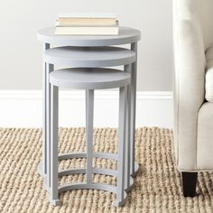 @Overstock - Safavieh Sawyer Medium Grey Stacking Table (Set of 3) - Light and airy, the transitional Sawyer stacking tables provide a circular approach to party service.  http://www.overstock.com/Home-Garden/Safavieh-Sawyer-Medium-Grey-Stacking-Table-Set-of-3/8910092/product.html?CID=214117 $215.99
