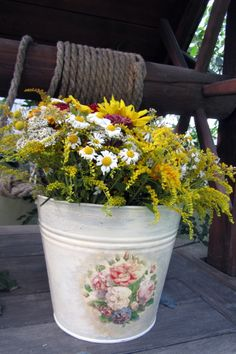 Bucket with flowers.
