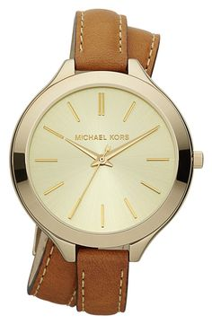 Michael Kors Double Wrap Leather Strap Watch, 42mm | Nordstrom