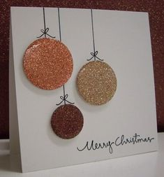 Stamping with Loll: Metallic Ornaments What a great CAS Christmas card with Crystal Effects over the glitter paper! Meery Christmas, Diy Christmas Ornaments, How To Make Ornaments, Christmas Greeting Cards, Holiday Cards, Paper Cards, Diy Cards, Diy Paper, Paper Ornaments