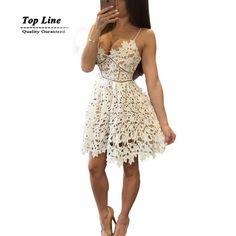 Nova chegada verão 2016 vestidos spaghetti oco out floral vestido branco