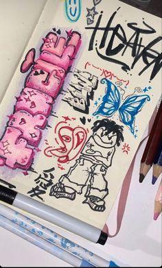Graffiti Art, Graffiti Drawing, Graffiti Lettering, Cool Art Drawings, Art Drawings Sketches, Indie Drawings, Indie Art, Funky Art, Psychedelic Art