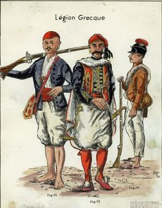 légion grecque Greek Warrior, French Revolution, Napoleonic Wars, Military History, France, Egyptian, Military Uniforms, Countryside, Painting