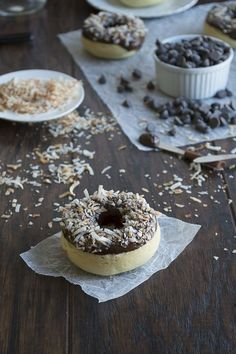 Coconut Donuts Topped with Chocolate Ganache and Toasted Coconut