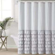 Lark Manor Peeples Ruffle Shower Curtain Color Gray