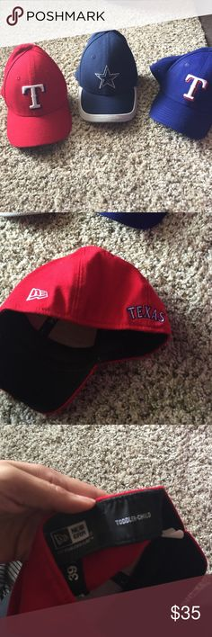 Boys new era Cowboys/Rangers baseball caps bundle Barely worn selling in bundle or each for 15. Fits a child from ages 3-6. New Era Accessories Hats