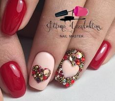 Hey there lovers of nail art! In this post we are going to share with you some Magnificent Nail Art Designs that are going to catch your eye and that you will want to copy for sure. Nail art is gaining more… Read Heart Nail Designs, Simple Nail Art Designs, Cute Nail Designs, Simple Art, Rhinestone Nails, Bling Nails, Red Nails, Stiletto Nails, Nails Ideias