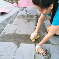 How to install beautiful stamped concrete tiles for the look of stamped concrete for a fraction of the cost! Diy Stamped Concrete, Concrete Tiles, Stained Concrete, Driveway Entrance, Bad Inspiration, Covered Patios, Backyard, Exterior, Bougainvillea