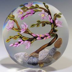 """Paperweight by Colin Richardson - Bonzai Cherry Blossoms. Magnum 3 1/2""""w x 2 3/4""""t, 23.9oz."""