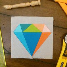 Gemmologie Quiltblock Diamant Papierblock von SarahRoseQuilts