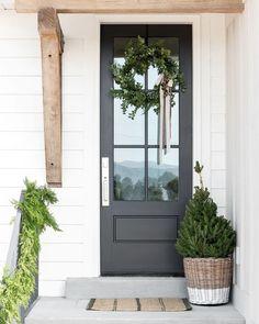 Front Door Colors, Front Door Decor, Front Door With Glass, Painted Front Doors, Front Door Entry, Entryway Decor, Dark Front Door, Stained Front Door, Front Door Plants
