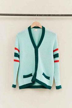 Vintage Blue Varsity Stripe Cardigan