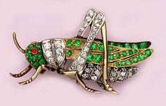 Edwardian Demantoid Garnet, Diamond, Ruby, Gold and Platinum Grasshopper Brooch.