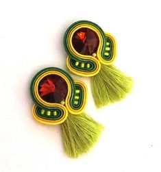 SALE Colorful clip on earrings, colorful tassel earrings soutache earrings soutache pendientes Orecchini lime short tassel inspirational Soutache Earrings, Big Earrings, Green Earrings, Girls Earrings, Unique Earrings, Tassel Earrings, Clip On Earrings, Tassel Jewelry, Textile Jewelry