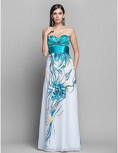 оболочкой / колонки возлюбленной длиной до пола узор шифон вечер / платье выпускного вечера - USD $ 149.99