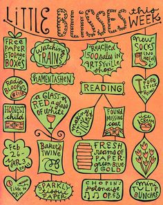 little-blisses by artsyville - what a great weekly exercise to not only be thankful, but to create a working list of artistic inspirations, and learning to look for small details.