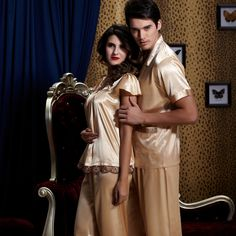Free Shipping Couple Pajama Sets For Men And Women Short Sleeve Square Collar Emulation Silk Sleepwear Fashion Pyjama 1811/1911