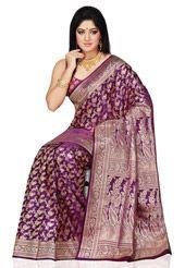 Dark Purple Pure Banarasi Silk Saree with Blouse
