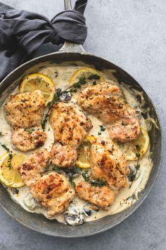 Creamy Lemon Thyme Chicken   lecremedelacrumb.com