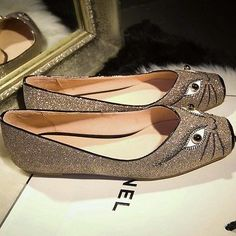 Women comfort cat blingbling shoes shallow mouth square toe flat leather shoes