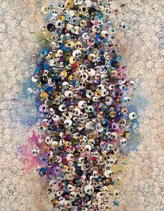 Takashi Murakami - Who's Afraid Of Red, Yellow, Blue And Death (2010) - acrylic on canvas mounted on aluminum frame