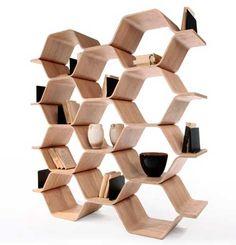 Hexagon shelving  http://www.geniohouse.com/upload/506/2740_506_Shelving_Stacking_Hexagon_Design:_Polygon_Shelving_Unit_by_Luka_Stepan.jpg