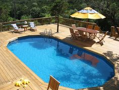 A grand pool deck for anyone to love. Looks better than an in ground.