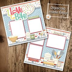 I love to Bake-2 Premade Scrapbook Pages for printing or digital scrapbooking by AdrisCorner on Etsy Book Sites, Scrapbooks, Photo Book, Scrapbook Pages, Digital Scrapbooking, Embellishments, Custom Design, Corner, Printing